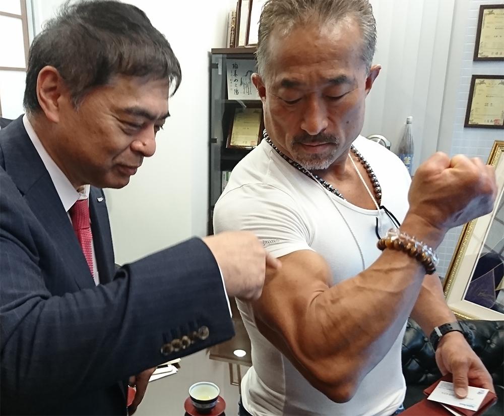 角田信明師範とアクアバンク代表の竹原